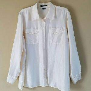 Ralph Lauren/ Ivory 100% silk button down